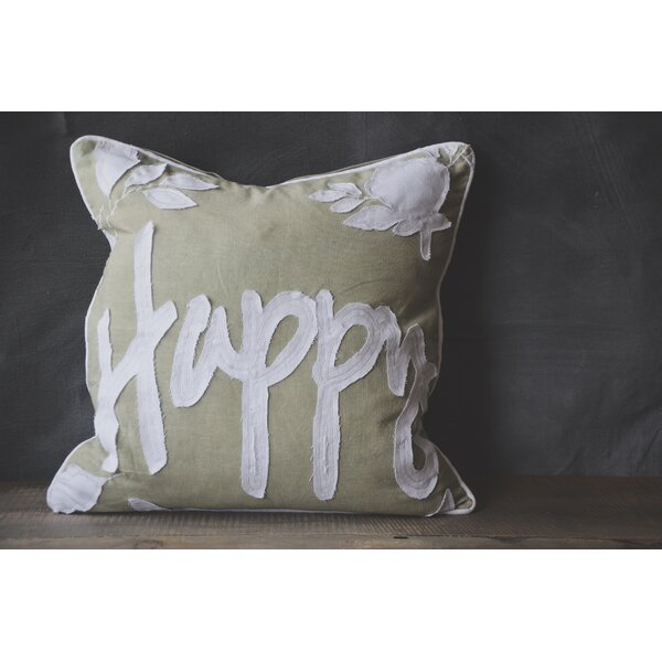 Patina Vie Happy 100% Cotton Throw Pillow by Patina Vie